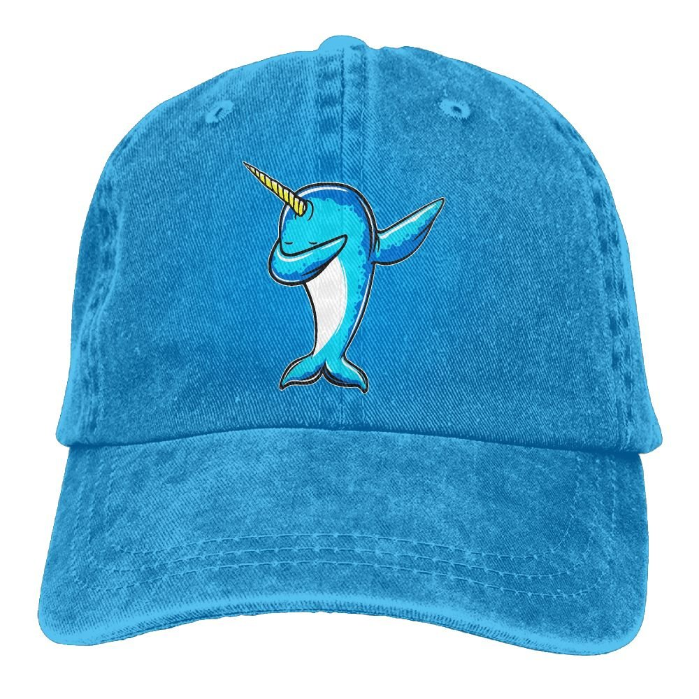 Funny Narwhal Trend Printing Cowboy Hat Fashion Baseball Cap For Men and Women Black