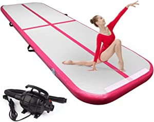 FBSPORT 8inches/4 inches Thickness Air Inflatable Track Mat,26ft/23ft/20ft/17ft/13ft/10ft Track Air Inflatable Mat for Gymnastics Training/Home Use/Cheerleading/Yoga/Water with Electric Pump