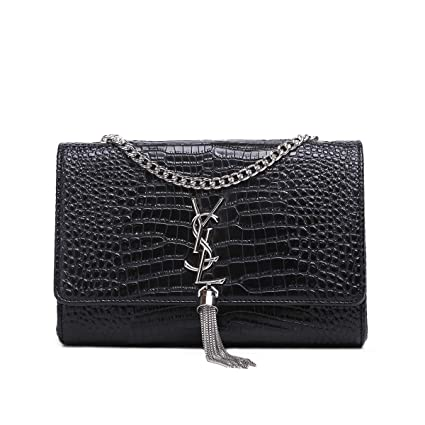 1d4feaa425 KKGG Marque de Mode Jeune Fille Shopping Bag Dames Sac à Main pour Porter des  cosmétiques, Portefeuilles et Autres Fournitures Femelles-Black Crocodile  ...