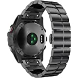 ANCOOL Garmin Fenix 5X Band Metal Easy Fit 26mm Width Stainless Steel Watch Bands for Garmin Fenix 5X/Fenix 3/Fenix 3 HR - Black