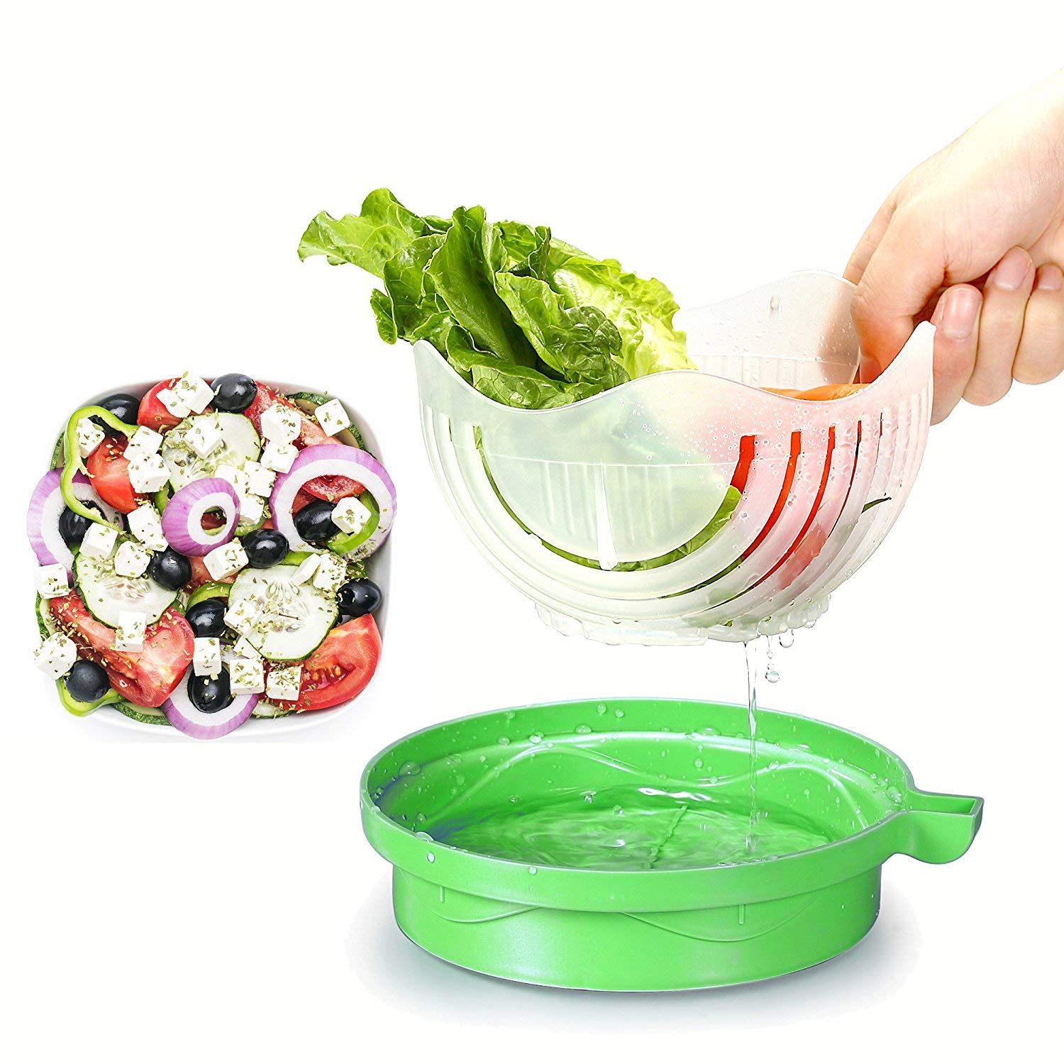 Salad Cutter Bowl 60 Seconds Easy Fresh Salad Cutter and Fast Fruit Vegetable Chopper Salad Maker by Accdata [Bonus Multi-Function Paring Knife] by Accdata (Image #5)