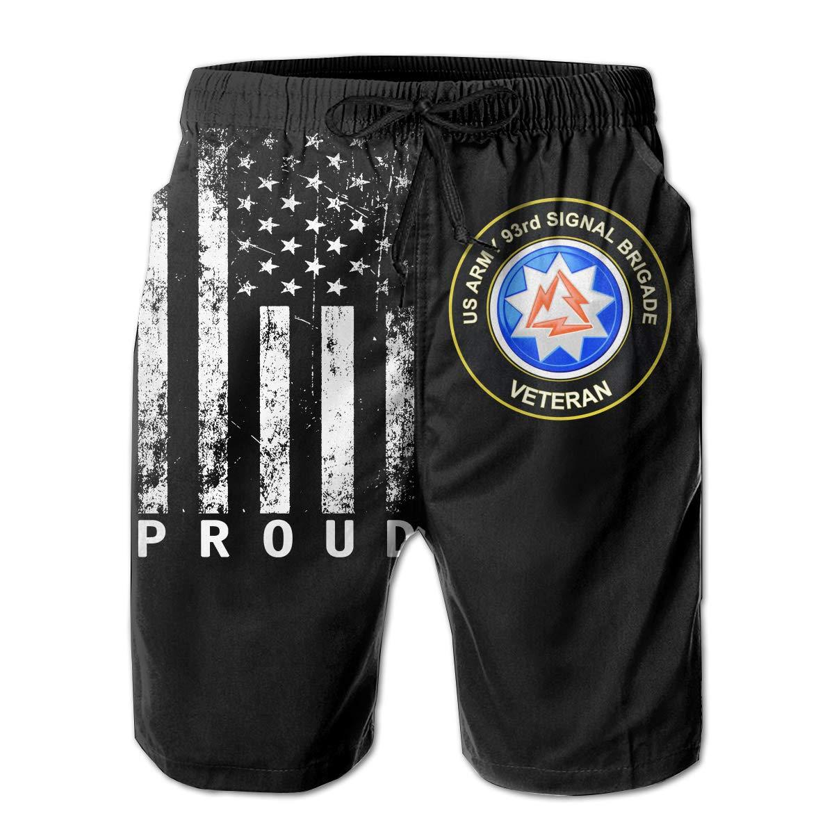 US Army 93rd Signal Brigade Unit Crest Veteran Mens Quick Dry Swim Trunks Beach Shorts with Mesh Lining
