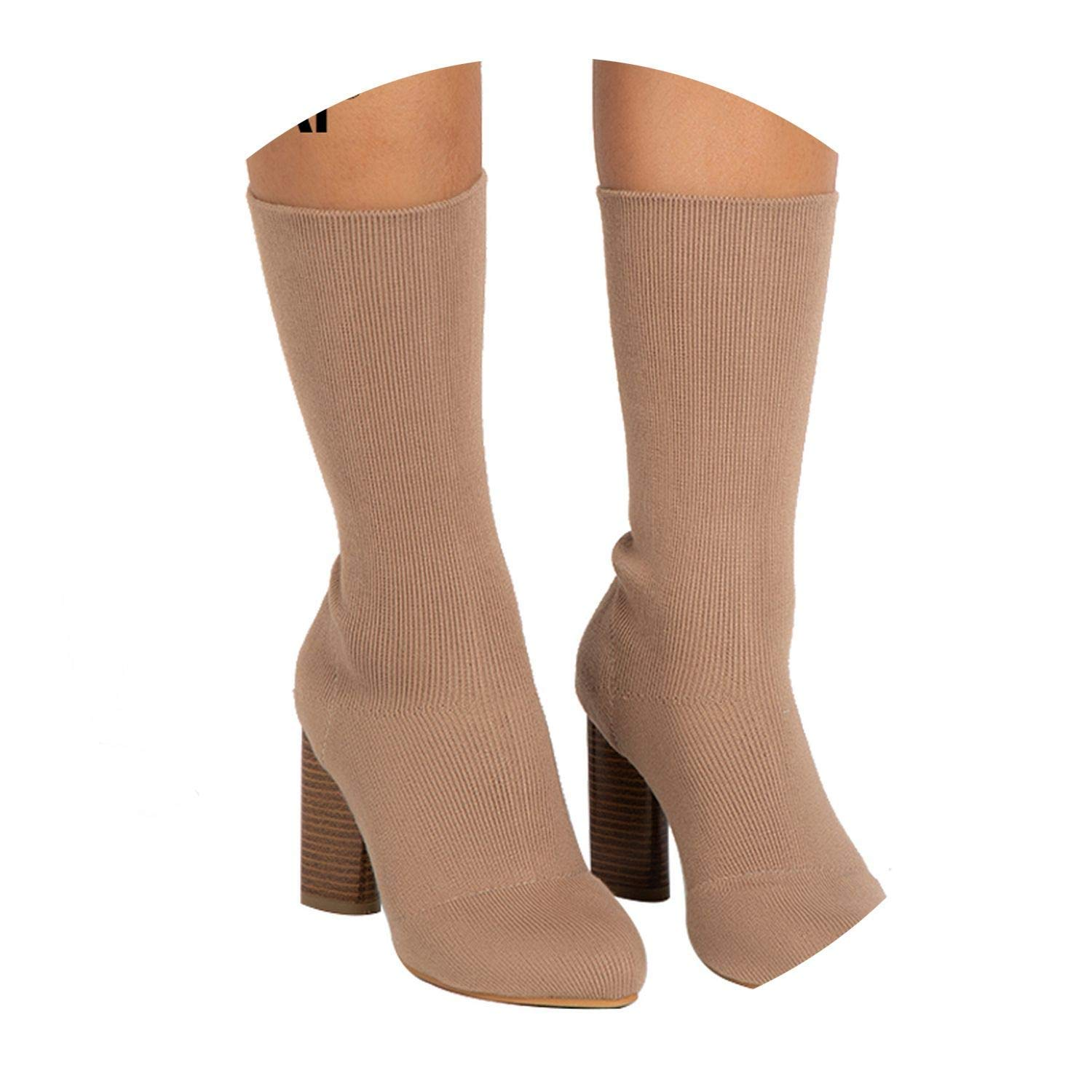 LIAOYLY Warm Winter Boots High Heels Slip-On Socks Pointed Toe Ankle Knitting Shoes 014C2577-4,Apricot,7.5,