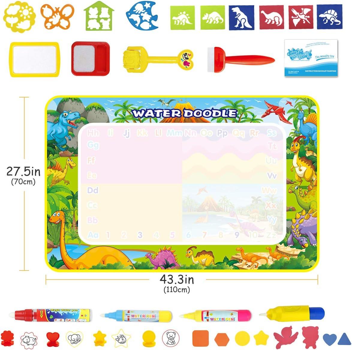 Doodle Tappeto Magico Grande 110 x 70cm Riutilizzabile Acqua Doodle Tappetino Disegno Bambini Giocattoli Educativi per Bambini con Molti Accessori