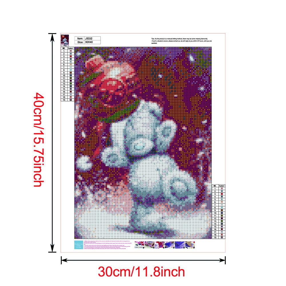 DIY 5D Diamond Art Full Drill Cross Stitch Embroidery Crystal Art Kits Perfect for Relaxation and Home Wall Decor Christmas Bear 30X40cm Sunnay Diamond Painting Kits