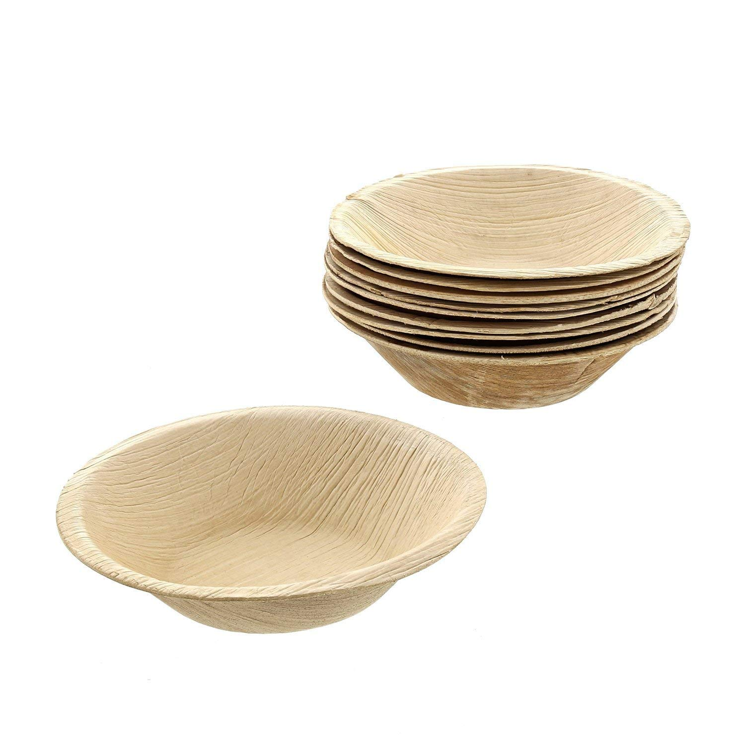 NATURAL ECO-FRIENDLY BIODEGRADABLE PALM PLATE 15cm 6 PACK ROUND WOODEN LEAF