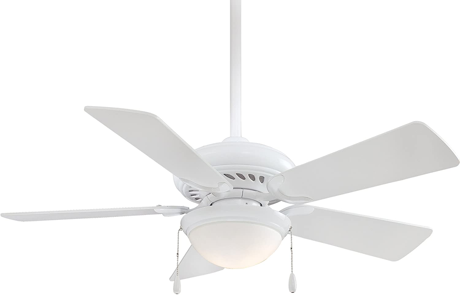 Minka-Aire F563-SP-WH Downrod Mount, 5 White Blades Ceiling fan with 76 watts light, White