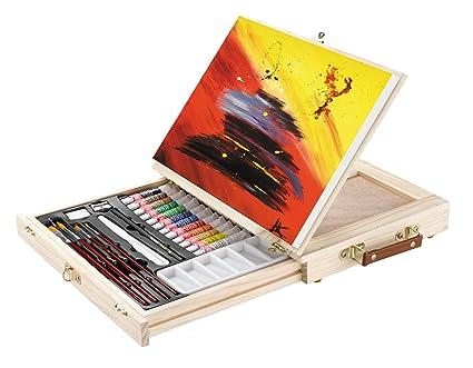 Psm set per pittura in acrilico con cavalletto da tavolo