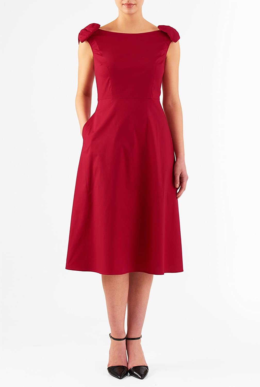 1950s Plus Size Dresses eShakti Womens Bow embellished poplin midi dress $49.95 AT vintagedancer.com