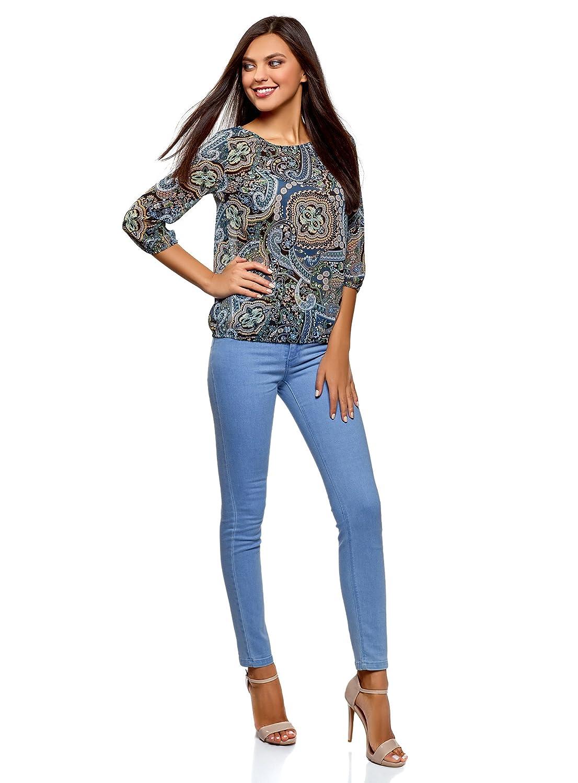 oodji Collection Mujer Blusa Estampada de Gasa: Amazon.es: Ropa y accesorios