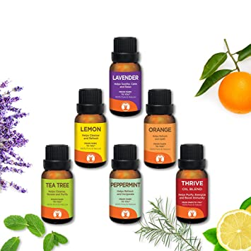 Cleaning Solution - GuruNanda Aromatherapy Essential Oils Set 6pc Kit - Energize - Uplift - Purify - Cleansing - Immune Boosting - Calming - 100% Pure - Undiluted - Therapeutic Grade - 15ml