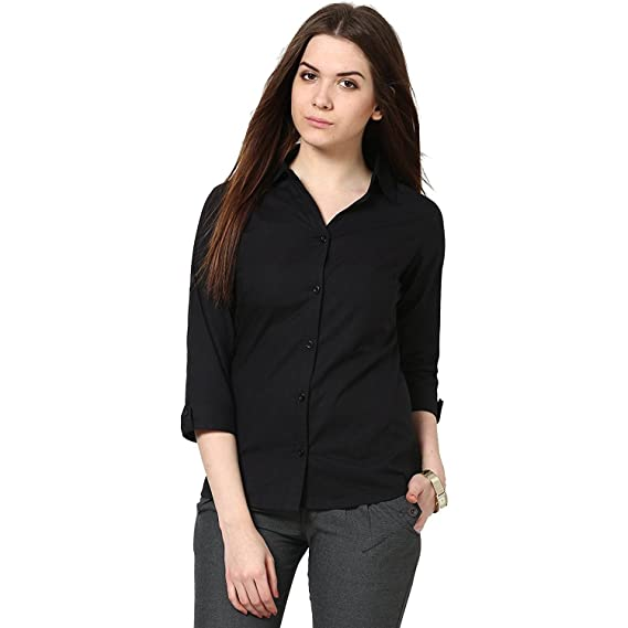 b004b15f69accc C.Cozami Women s Girl s White Maroon Olive Green Casual Shirts (Black