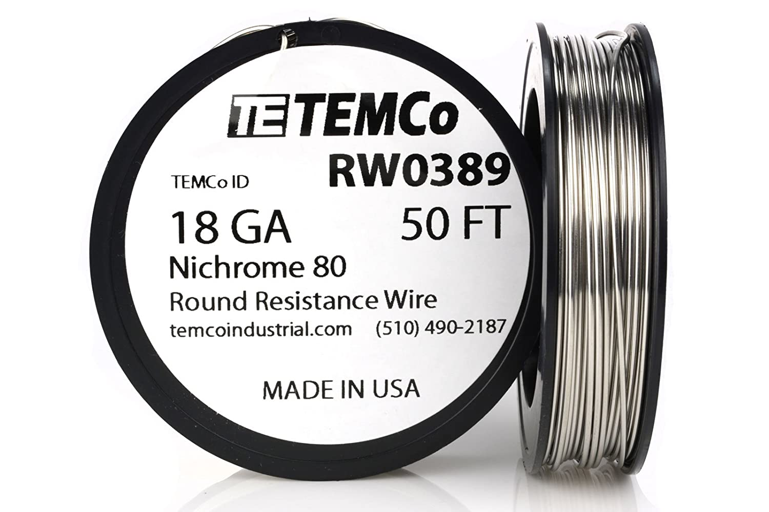 TEMCo Nichrome 80 series wire 18 Gauge 50 FT Resistance AWG ga ...