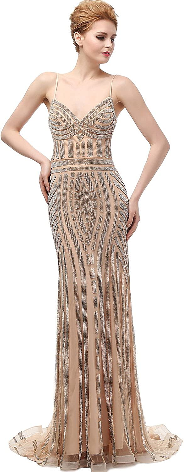 Belle House Women Champagne Mermaid Evening Dresses Appliques Beaded Formal Occasion Prom Party Gown at  Women's Clothing store