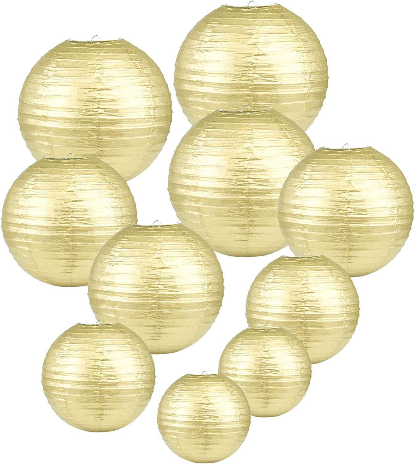 LIHAO 10x Mixed Size Gold Paper Lanterns for Weddings, Birthdays, Parties and Events