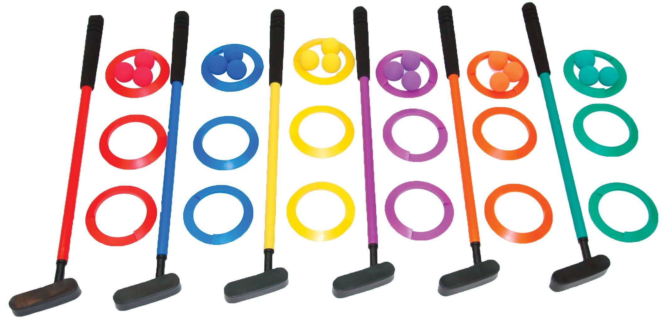 Champion Sports Mini Golf Clubs: Multi Colored Putt Putt Miniature Golfing Set For Kids - 6 Putters 18 Holes & 18 Balls