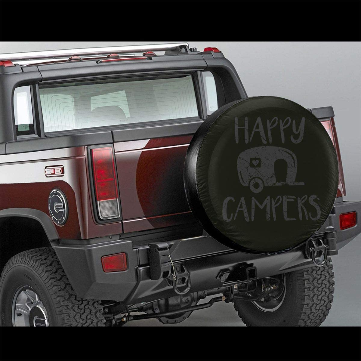 CaLOV Happy Campers Spare Tire Cover Protector Waterproof Dust-Proof Wheel Covers Fit for Jeep Liberty Rv SUV Camper Travel Trailer Accessories 14 15 16 17