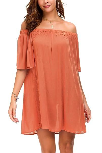 483c6a6d76e6 Tsher Women s Solid Color Short Sleeve Summer Casual Loose Off Shoulder  Mini Dress 0023 (Orange