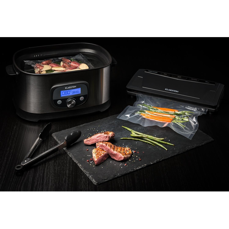 Klarstein FoodLocker Slim /• Vakuumierer /• Vakuumierger/ät /• Folienschwei/ßger/ät /• 130 Watt /• 9 Liter//Minute /• Lebensmittel /• Sous Vide /• vollautomatisch /• 10 x Beutel inklusive /• anthrazit