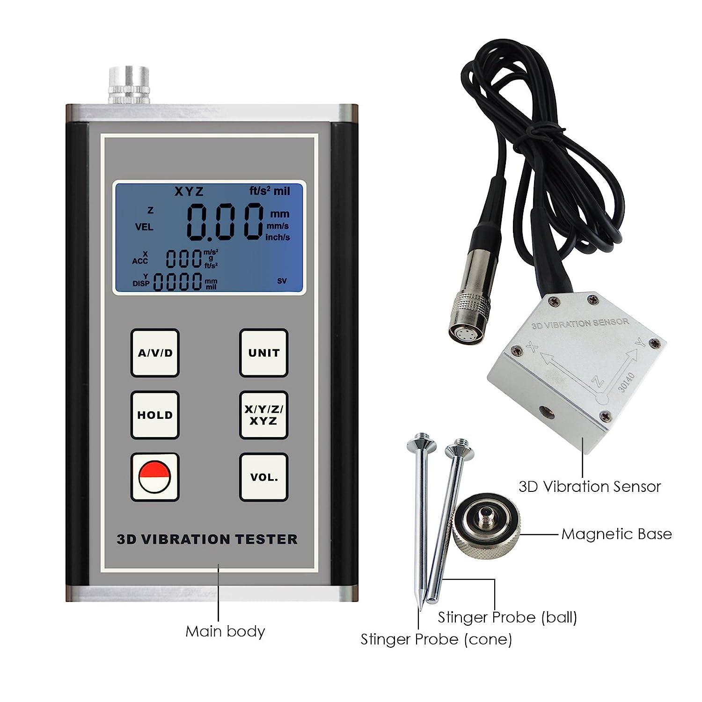 Medidor Multi Digital vibración 3 Axis piezoeléctricos acelerómetro: Amazon.es: Industria, empresas y ciencia
