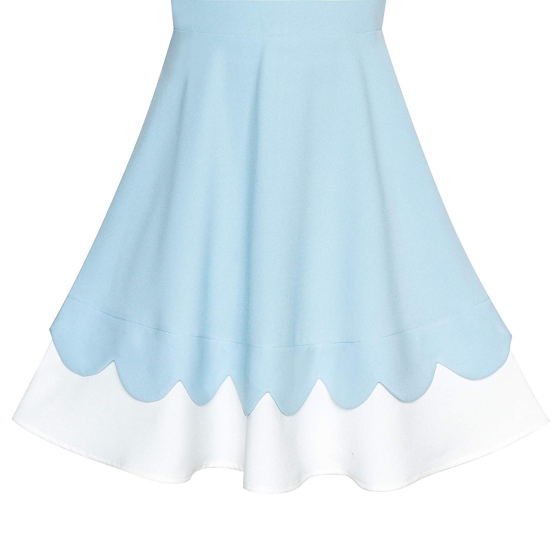 Sunny Fashion Girls Dress Back School Navy Blue White Collar Tie Short Sleeve