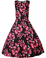 Costyleen Women's 1950s Vintage Floral Boat Neck Sleeveless Party Swing Dress with Belt