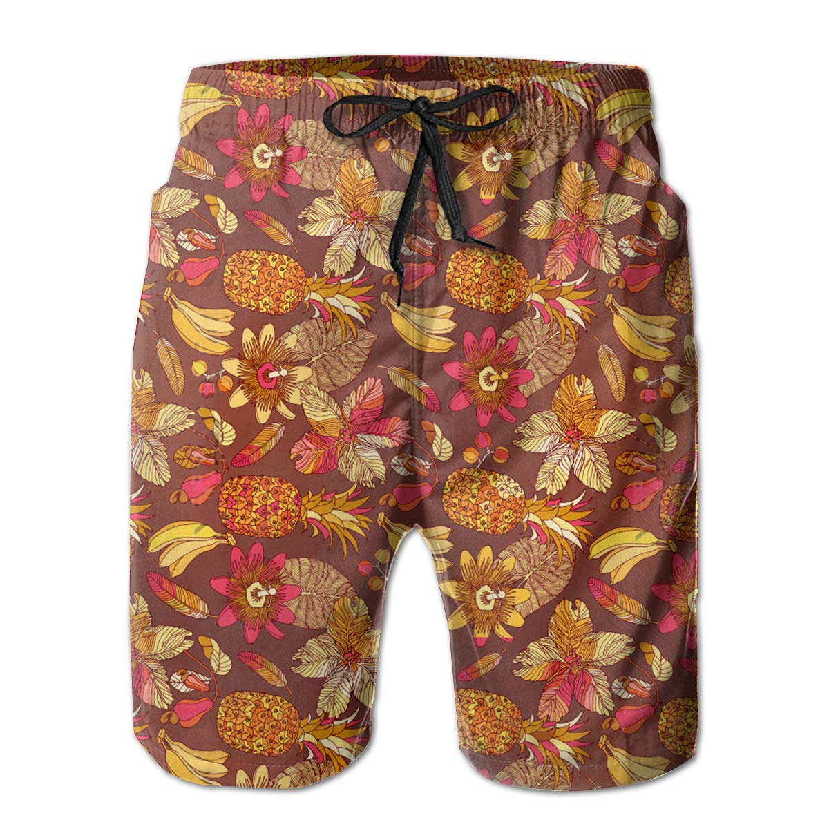 FASUWAVE Mens Swim Trunks Hibiscus Tropical Flowers Pineapple Quick Dry Beach Board Shorts with Mesh Lining