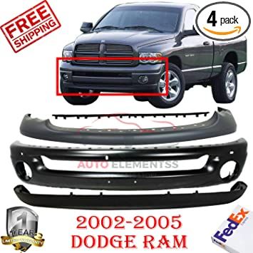Front Bumper Face Bar Black Paintable For 02-08 Dodge Ram 1500 /& 03-09 Ram 2500