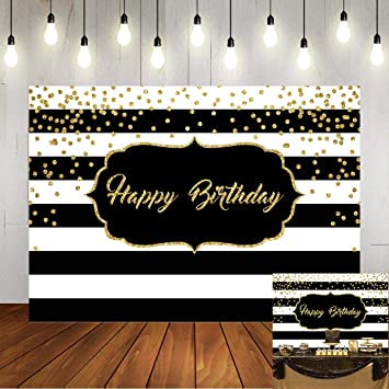 Amazon Com Black And White Stripes Happy Birthday Backdrop Gold Shining Dots Birthday Party Photography Background For Adults Sweet Birthday Party Photo Banner Props 7x5ft Camera Photo