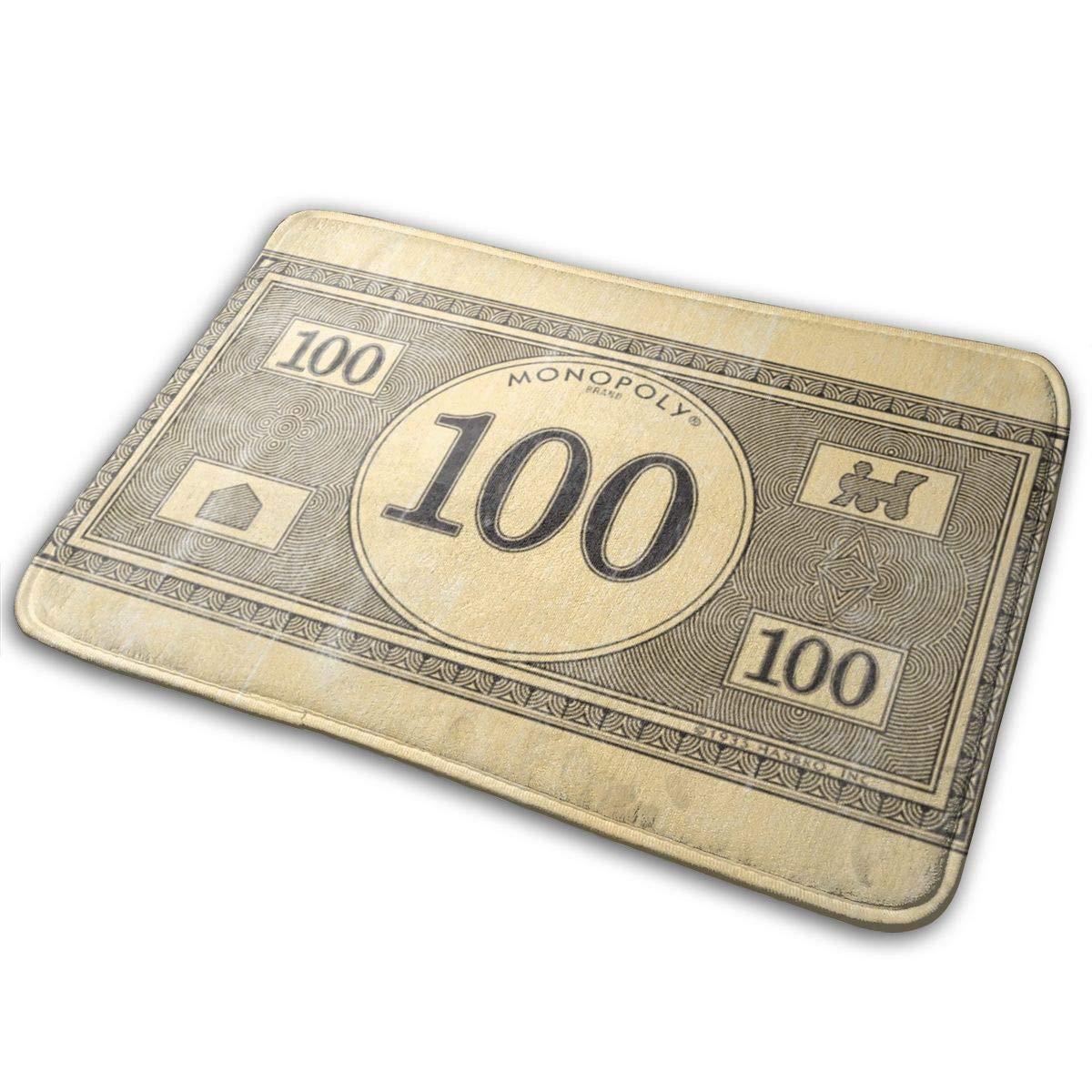 Indoor/Outdoor Mats Monopoly Vintage 100 Dollar Bill Bath Mat Door Mat Bathroom Mats Home Decoration Non Slip Water Bath Mat Doormat Entrance Rug 23.6''x15.7''