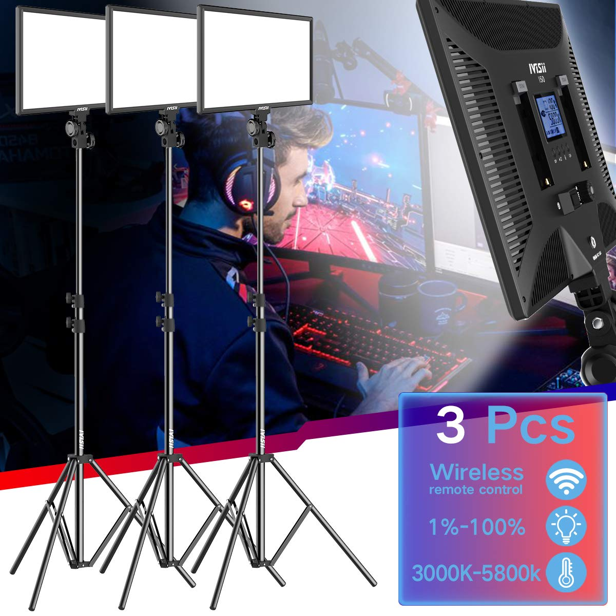 LED Video Light Kit - 15.4 Inch Bi-Color 3000k-5800k 45W Dimmable LED Panel Adjustable Light Stand Canon Nikon Pentax Camera Camcorder Studio Shooting (3-Pack) by IVISII (Image #1)