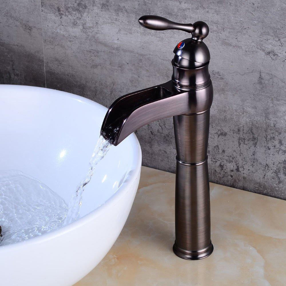 Antiker schwarzer Wasserhahn einzigen Griff Kontrolle heiß und kalt kalt kalt Mischhahn Europäischen Stil Bad Becken Wasserfall tippen,schwarz 4a8781