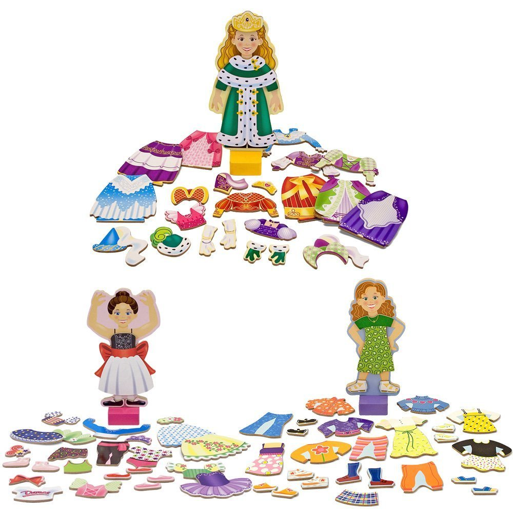 Melissa & Doug Deluxe Princess Elise Magnetic, Nina Ballerina, and Maggie Leigh Magnetic Dress-Up Sets