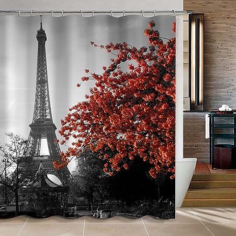 uphome 72 x 72 inch waterproof grey paris eiffel tower custom bathroom shower curtain cityscape