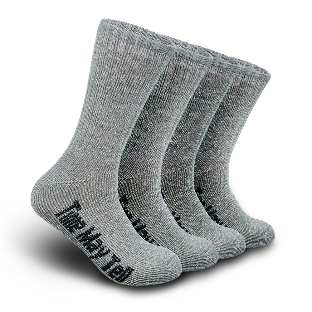 Time May Tell Mens Merino Wool Hiking Cushion Socks Pack (2/4 Pair,6-13 Size) (Light Grey(2 pairs), US Size 9.5~13) by Time May Tell