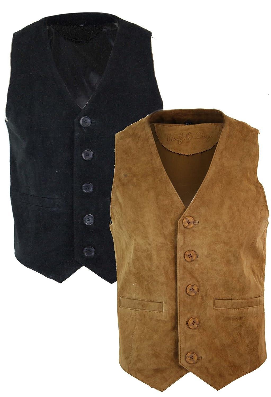 Infinity Mens Waistcoat Gilet Real Genuine Suede Leather Retro Vintage Western Vest