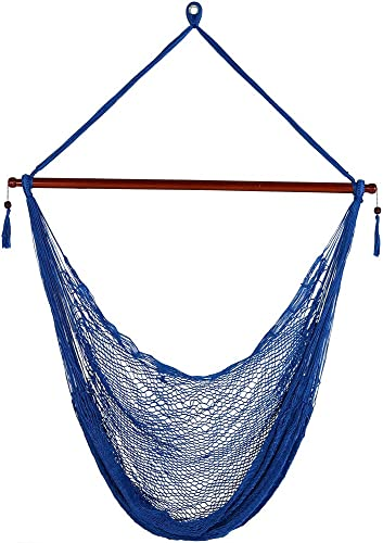 Sunnydaze Hanging Rope Hammock Chair Swing – Cabo Style Extra Large Hanging Chair with Spreader Bar for Backyard Patio – 360-Pound Capacity – Blue