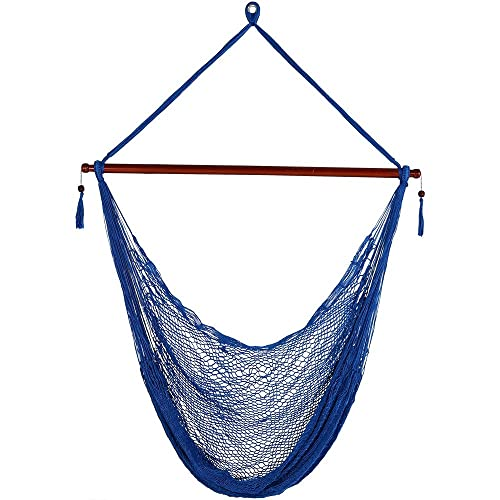 Sunnydaze Hanging Cabo Extra Large Hammock Chair, 47 Inch Wide Spreader Bar, Max Weight 360 Pounds, Blue