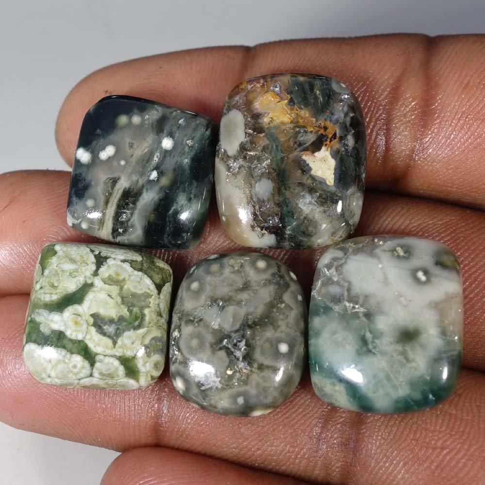 Qualitygems18 80.45Cts.100% Natural WHOLESALE LOT Ocean Jasper pcs5 Cab Fine Loose Gemstones