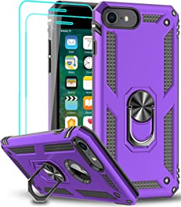 LeYi Compatible for iPhone SE 2020 Case with [2Pack] Tempered Glass Screen Protector, [Military-Grade] Protective Phone Case with Magnetic Ring Kickstand for iPhone SE 2nd Generation (2020), Purple