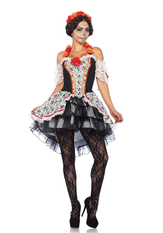 LEG AVENUE Damen Kostüm Totenkopf 'Lovely 'Lovely 'Lovely Calavera', Größe M/L 866853