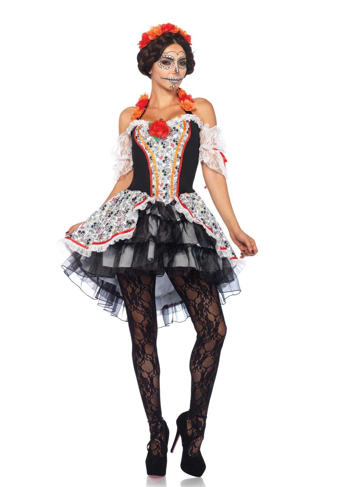 Leg Avenue Women's Lovely Calavera Costume, Multi, Small/Medium