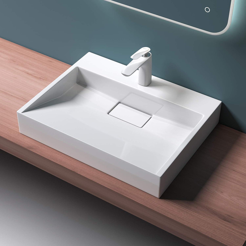 Mai /& Mai Lavabo Suspendu Vasque /à Poser Blanc Lave Mains Salle de Bain avec Per/çage de Robinet sans trop-Plein BR152B