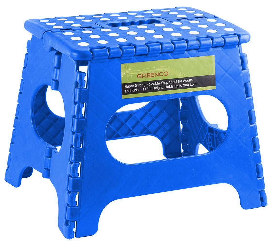 Greenco Super Strong Foldable Step Stool for Adults and Kids, 11'', Blue