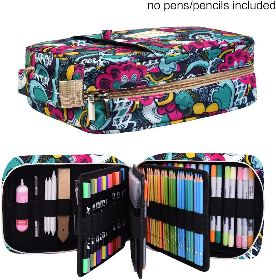 Pencil Case Holder Slot - Holds 202 Colored Pencils or 136 Gel Pens with Zipper Closure - Large Capacity Pen Organizer for Watercolor Pens or Markers - Perfect Gift for Beginner and Artist Blossom