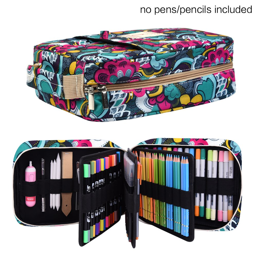 Pencil Case Holder Slot - Holds 202 Colored Pencils or 136 Gel Pens with Zipper Closure - Large Capacity Pen Organizer for Watercolor Pens or Markers - Perfect Gift for Beginner and Artist Blossom by qianshan