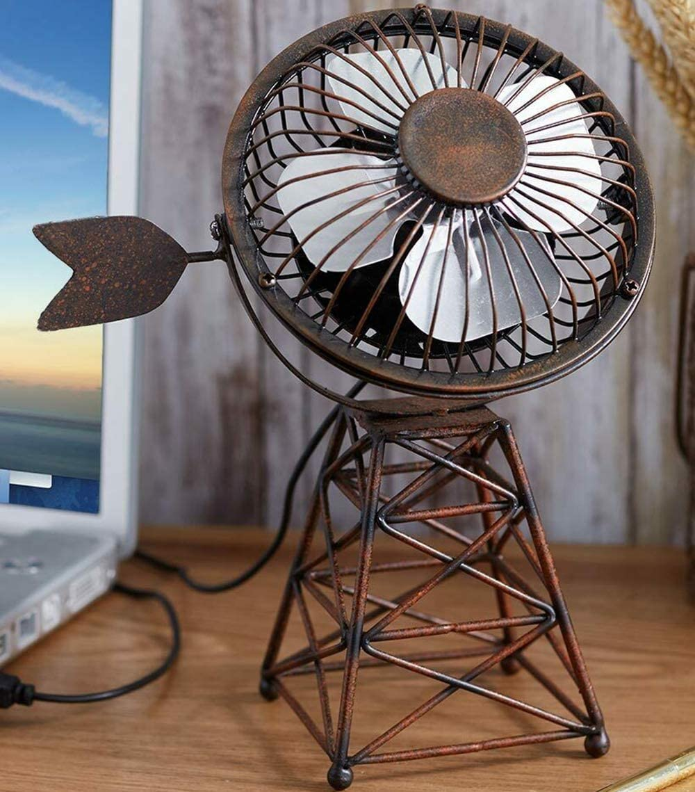 Briskly41 Windmill Themed USB Desktop Table Fan Tilting Computer Laptop Office Desk Top Mini Farmhouse Rustic Home Decor