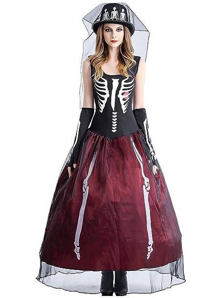 Lecoyeee Disfraz de Esqueleto del día de Muertos con ...