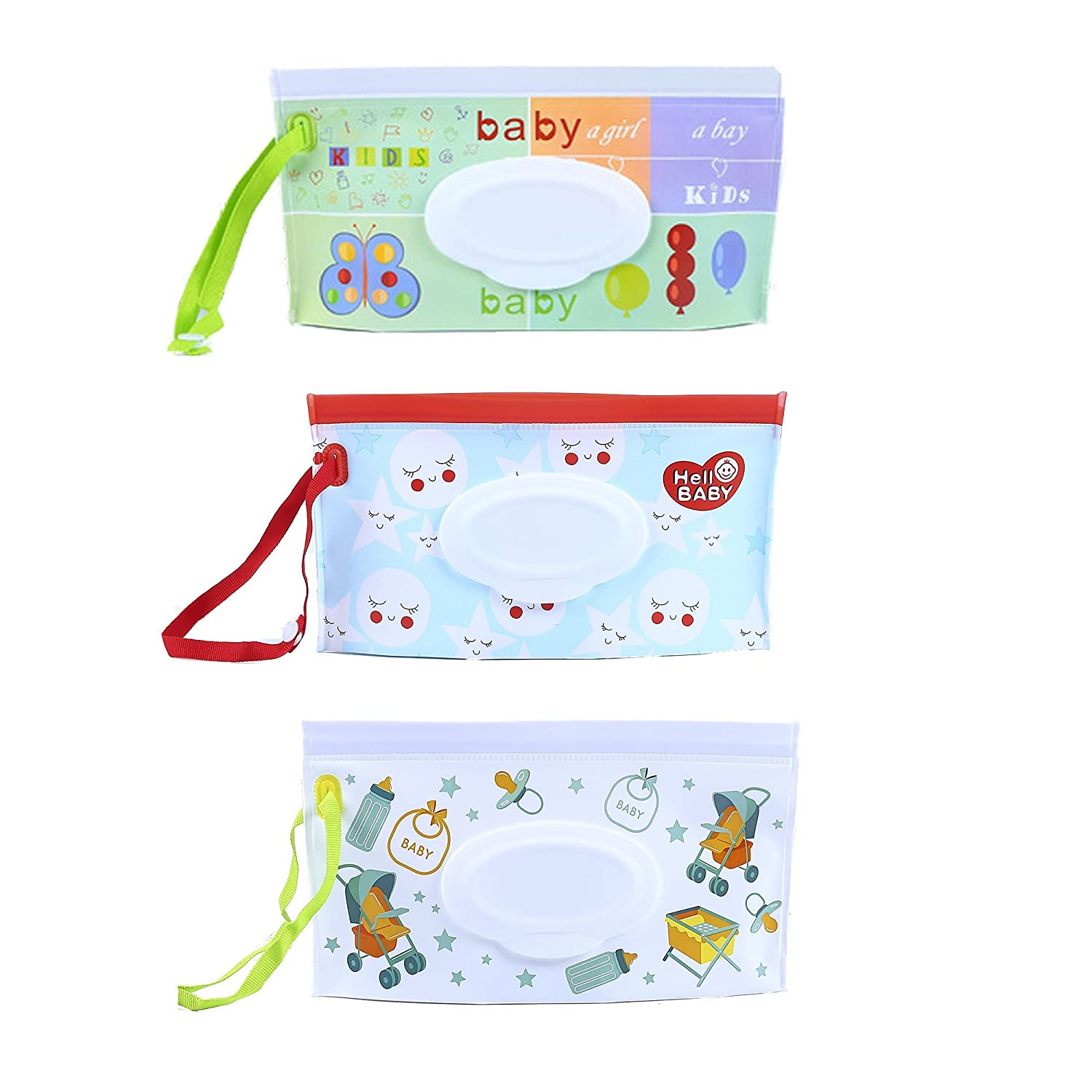 3 PCS Reusable Wet Wipe Pouch Refillable On-The-Go Cases Baby or Personal Wipes Dispenser, Keep Water Wipes Moist for Travel HOOPE