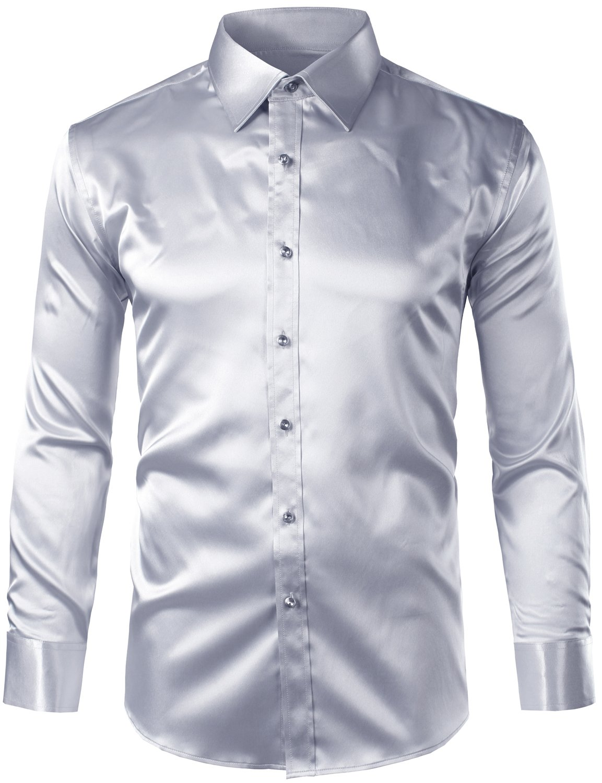 ZEROYAA Mens Regular Fit Long Sleeve Shiny Satin Silk Like Dance Prom Dress Shirt Tops Z6 Silver Large